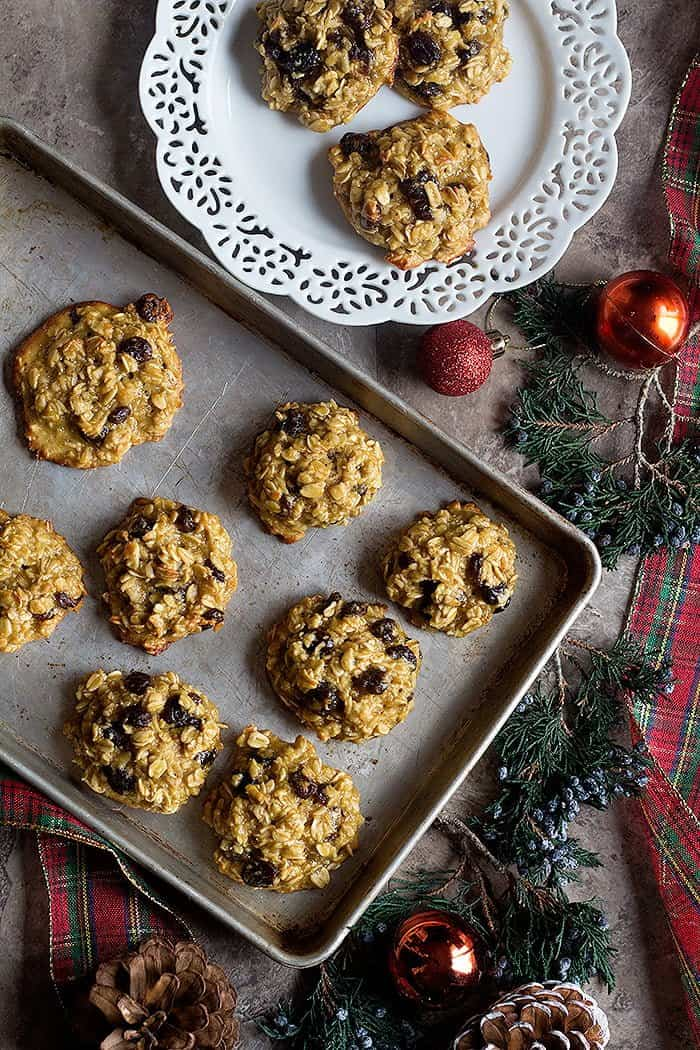 Learn how to make oatmeal cookies without butter that are chewy and delicious. These healthy oatmeal raisin cookies are naturally sweetened.