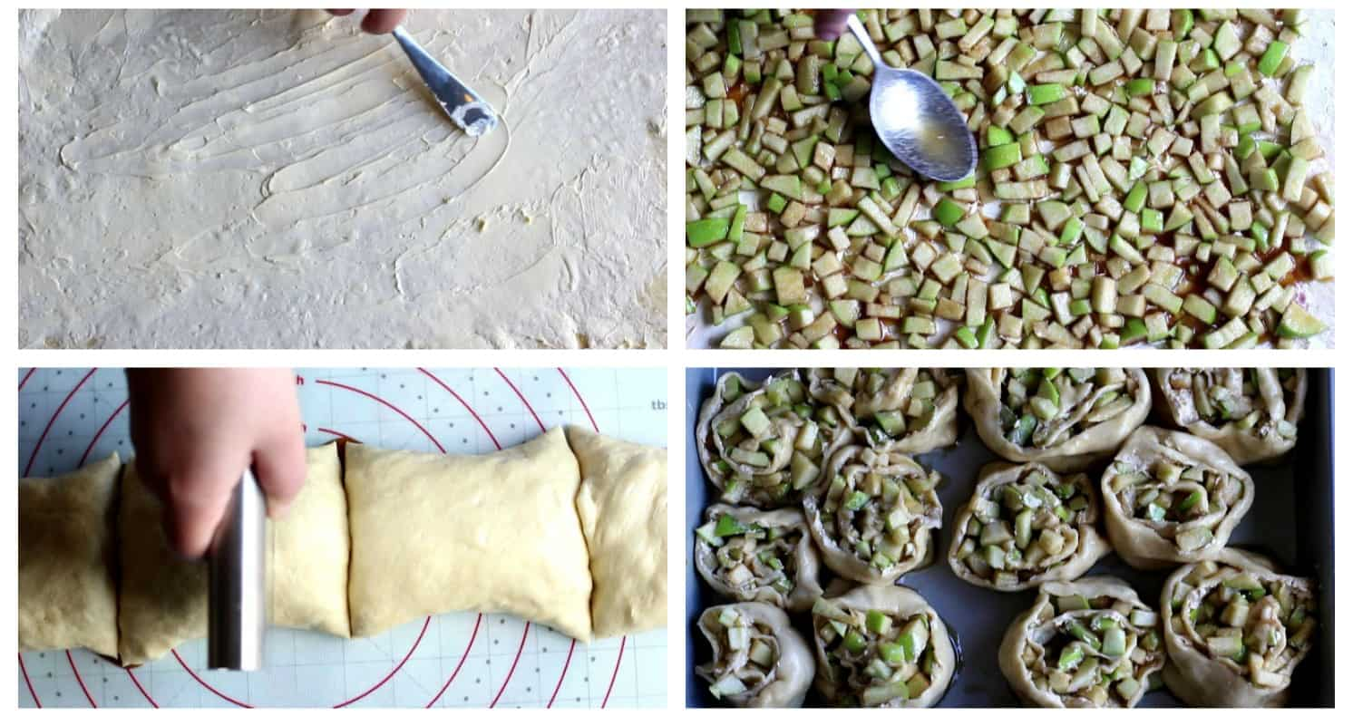 Roll out the dough psread butter on it then spread apples and roll again. Cut into 16 rolls and place in a pan.