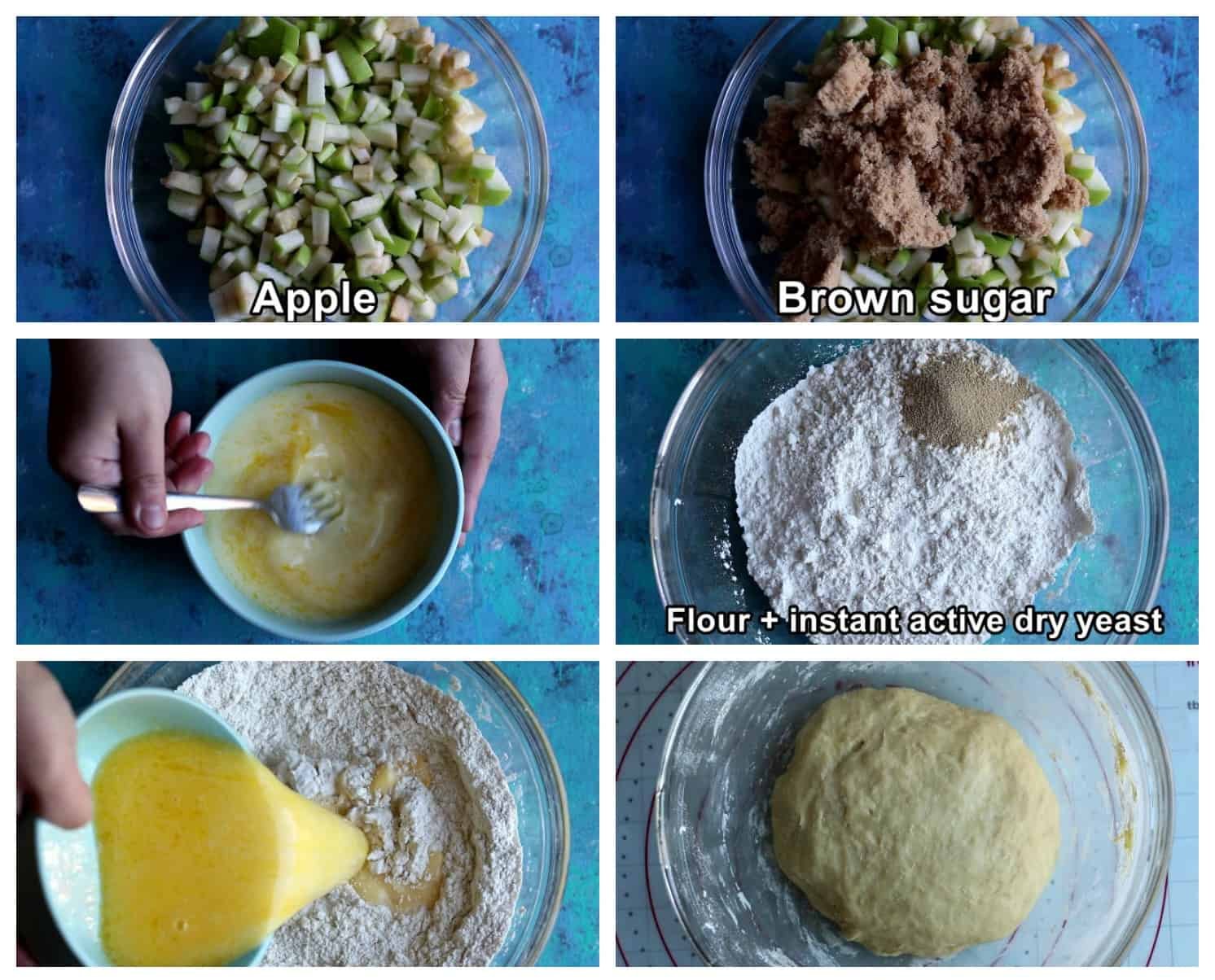 Mix apples with brown sugar. mix butter milk and water with eggs then mix flour and years add the wet ingredients and form the dough.