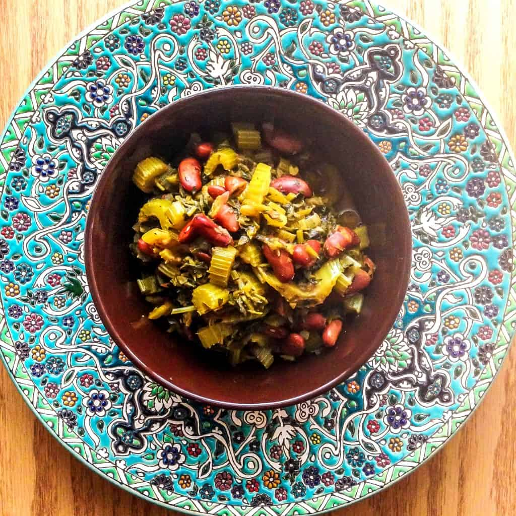 This mouth watering Persian Celery Stew is a must-try. This is the vegetarian version and it's full of flavor!
