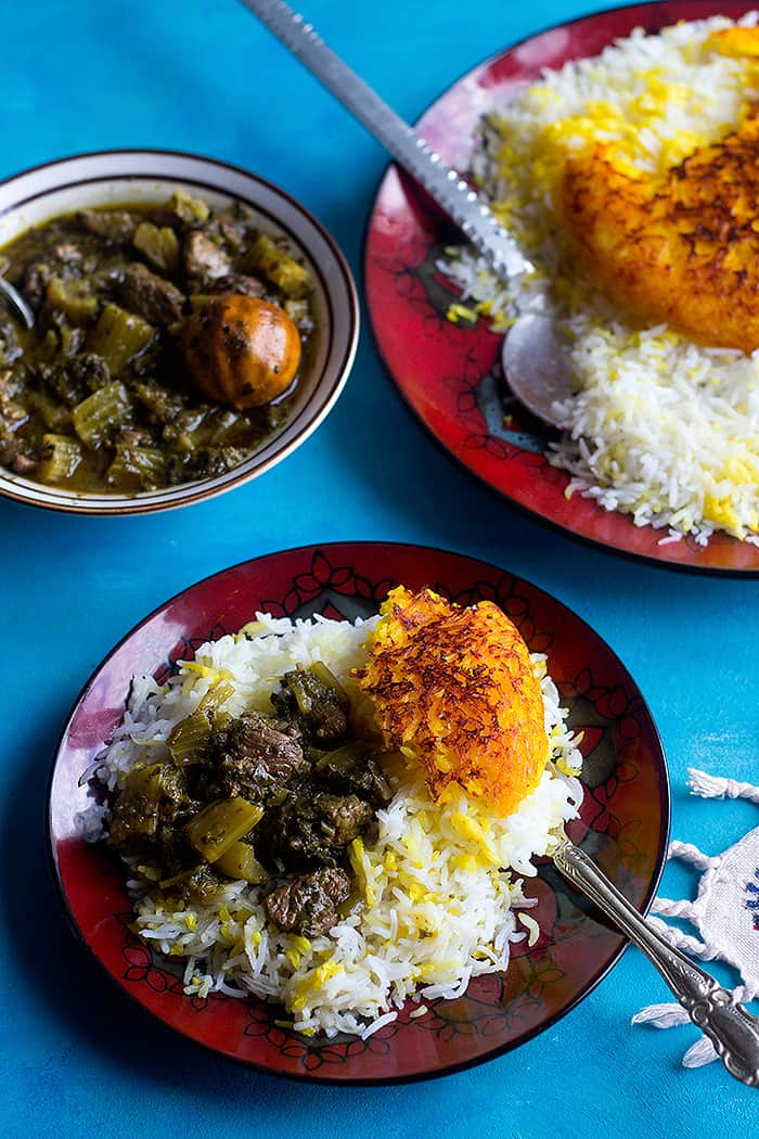 You can make Persian celery stew with lamb or chicken or vegetarian.