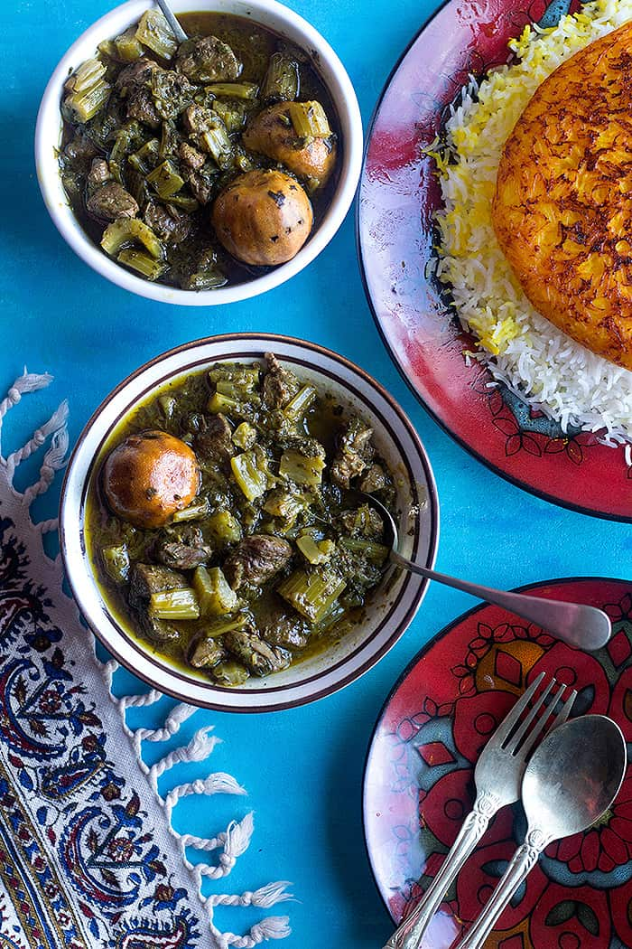 Persian celery stew also known as khoresht karafs is a delicious Iranian stew made with celery stalks and herbs. This easy Persian stew can be made vegetarian as well.