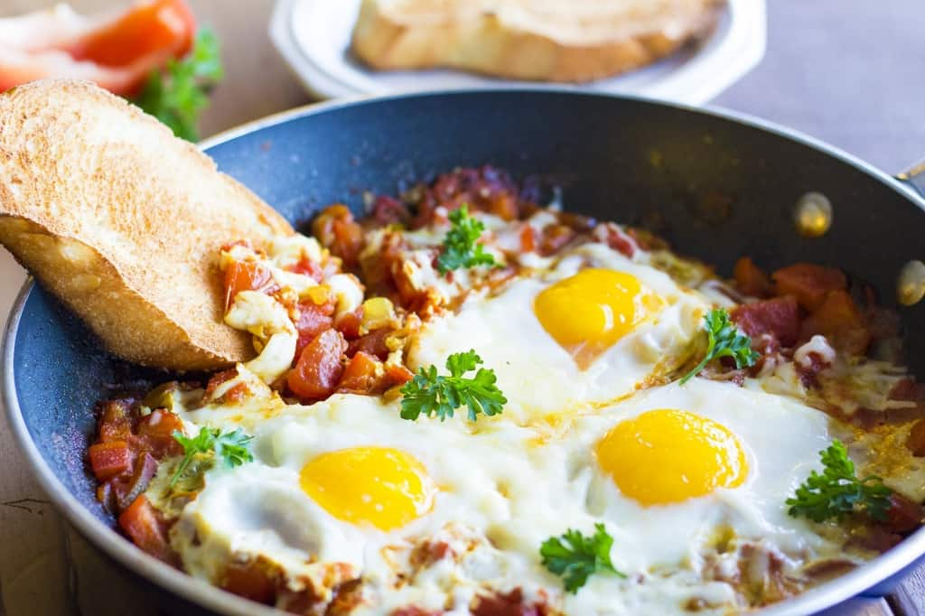 Cheesy Shakshuka is great for any time of the day!