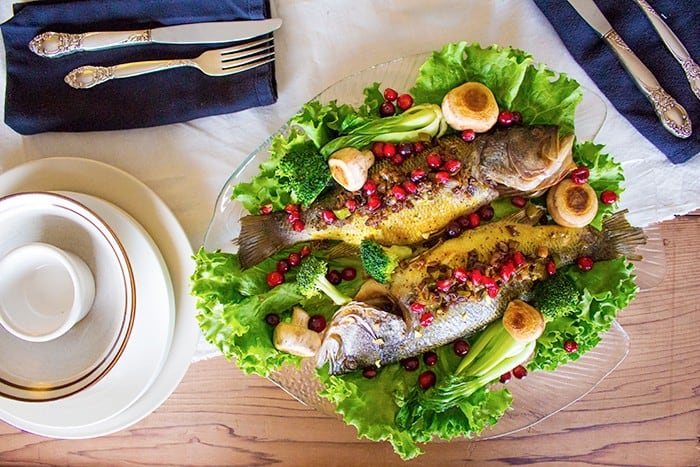 Trout is a good fish to use for this Persian fish recipe stuffed with pomegranates and walnuts.