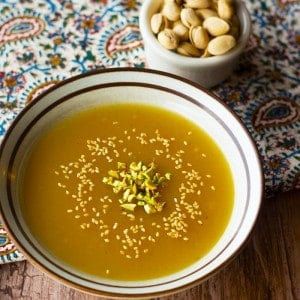 Kachi is a Persian Halva pudding that is full of saffron and rose water flavor. It's easy to make and very delicious. Full of Middle Eastern flavors!