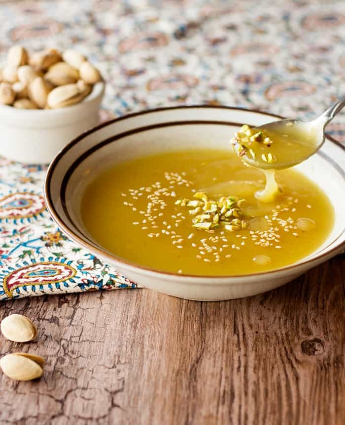 Kachi is a Persian Halva pudding that is full of saffron and rose water flavor. It's easy to make and very delicious. It's a taste of the Middle East!