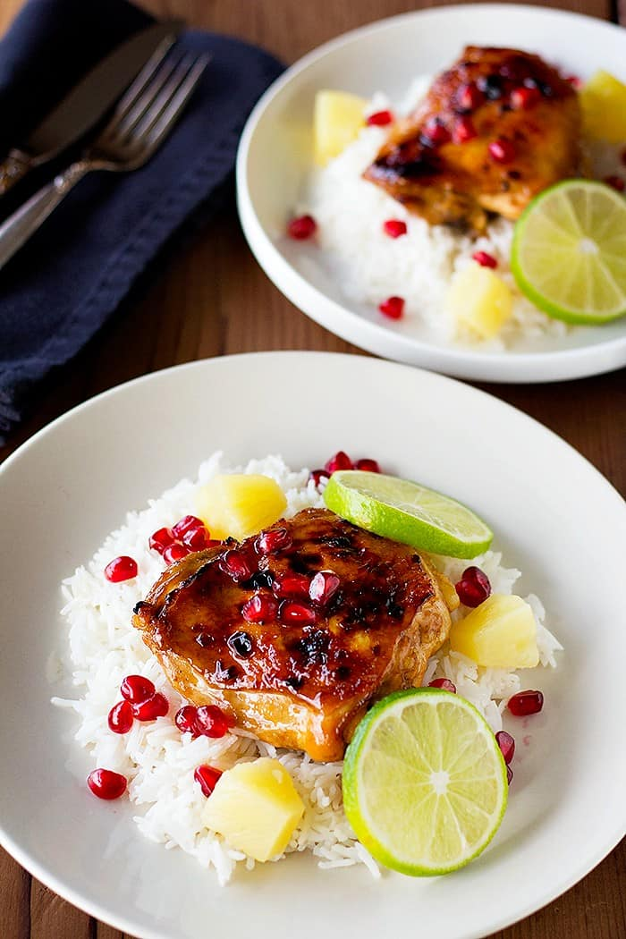 Pomegranate Pineapple chicken is the perfect dinner. Juicy chicken cooked in a pomegranate pineapple marinade is very delicious.