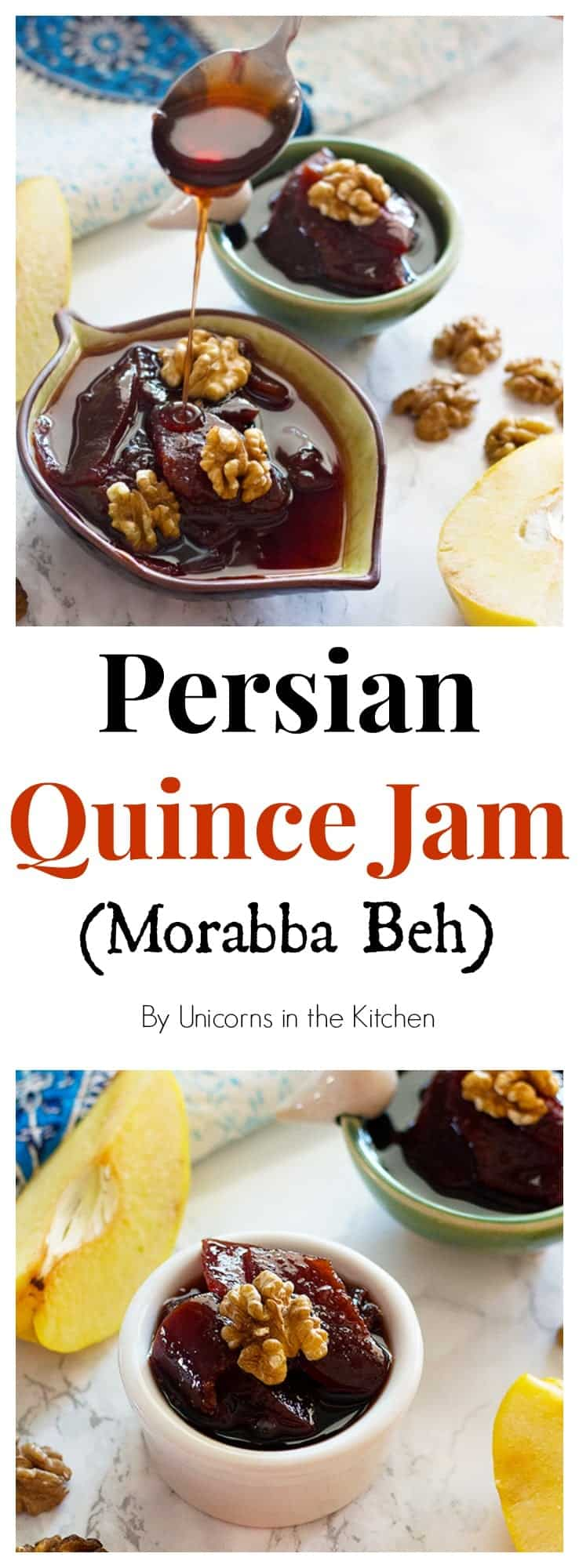 Persian quince jam - Morabba Beh is a traditional jam.This fragrant fruit gives you such delicious and tangy jam that you can use in your breakfast parfaits with fruit, or just have it with some bread!
