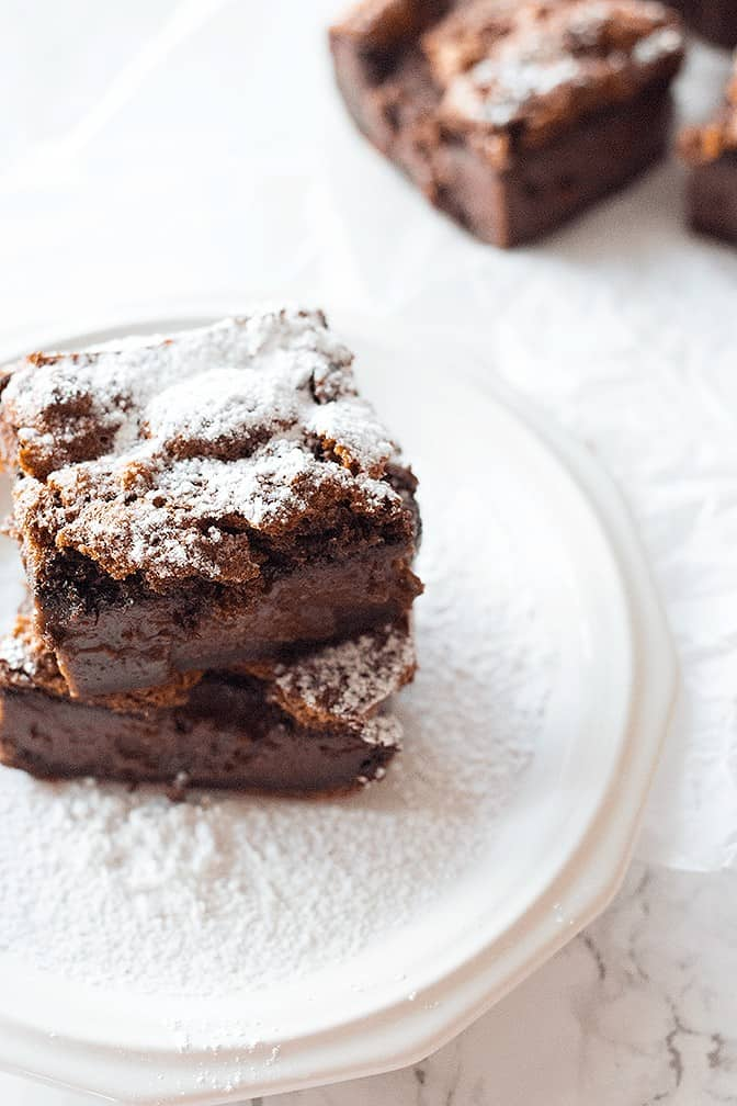 This Chocolate Magic Cake has three layers with with a custard-like layer in the middle, all made from one batter. It satisfies any chocolate cravings!