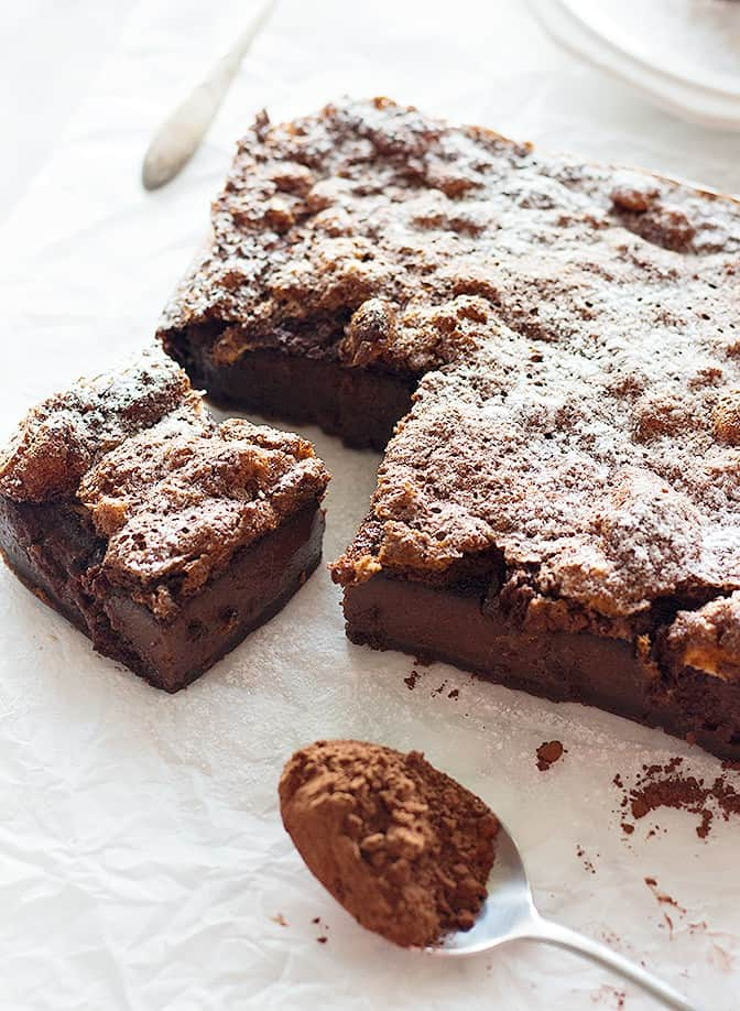 Chocolate Magic Cake - This cake has 3 layers and the middle layer has a custard texture.