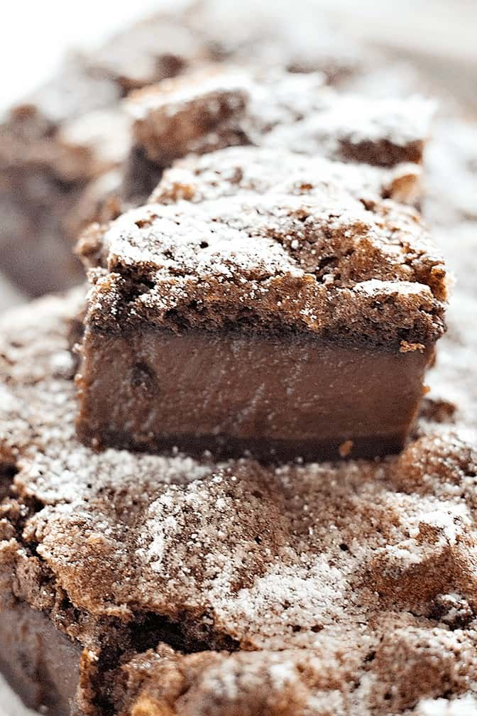 Chocolate Magic Cake is very simple to make. The batter is quite runny but once it's baked, it's divided into three layers.