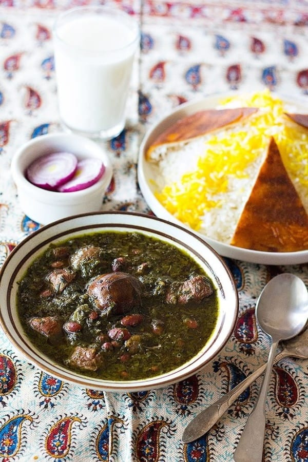 Ghormeh Sabzi recipe - Add in the herbs and cook for one hour. Ghormeh Sabzi is full of flavor because of fenugreek and Persian lime.