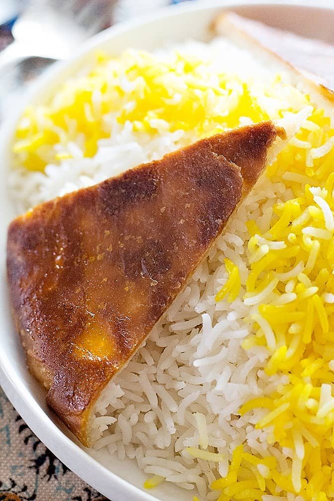 Close up shot of the rice and tahdig.