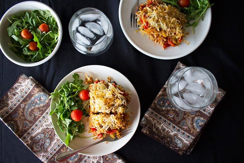 Serve the eggplant ground beef casserole with your favorite salad.