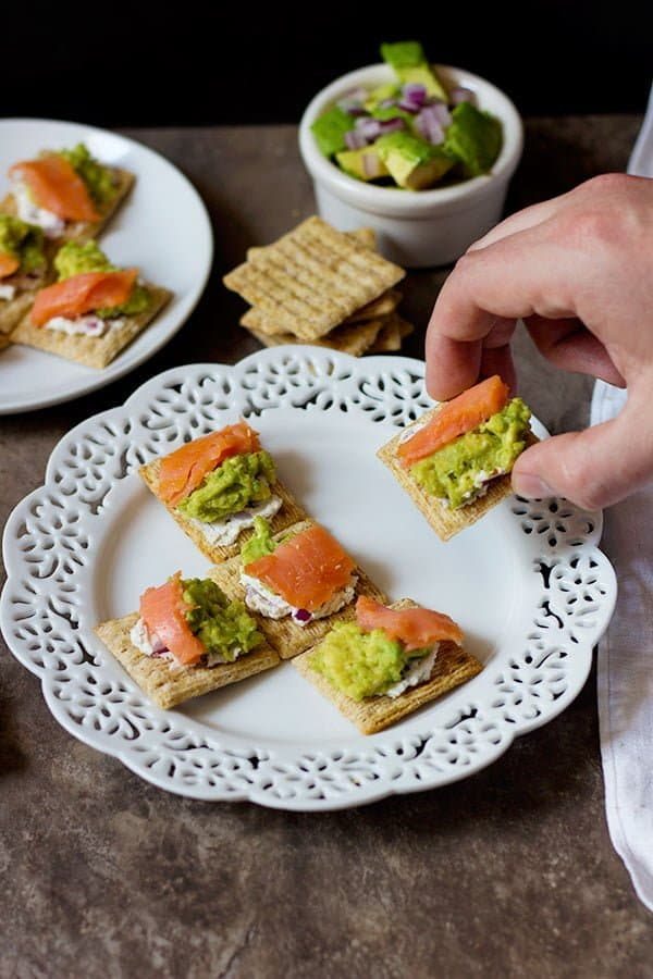 Have your guests go WOW with these Salmon Avocado bites! The smoked salmon pairs very well with goat cheese and smoked gouda crackers!
