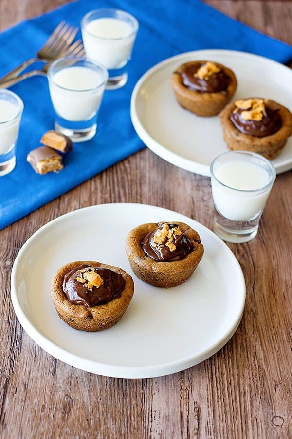 Chocolate chip cookie cups are great with a cup of milk.