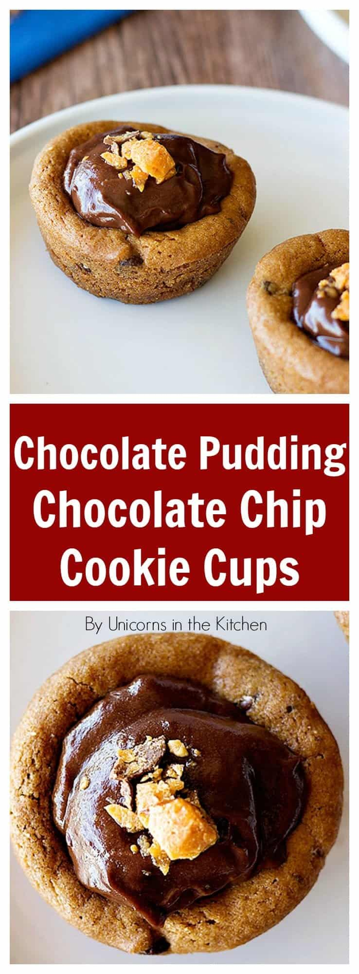 Make yourself and everyone else happy by making these Chocolate Pudding Chocolate Chip Cookie Cups! They are fun and SO delicious!