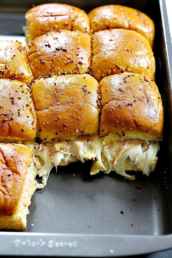 Hawaiian roll turkey sliders baked in the oven, perfect for game days and a crowd.