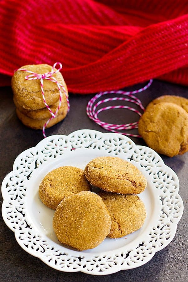 Easy Molasses Cookies are true holiday cookies. They are crispy on the edges and chewy on the inside. The combination of ginger, cinnamon, and molasses makes these cookies irresistible!