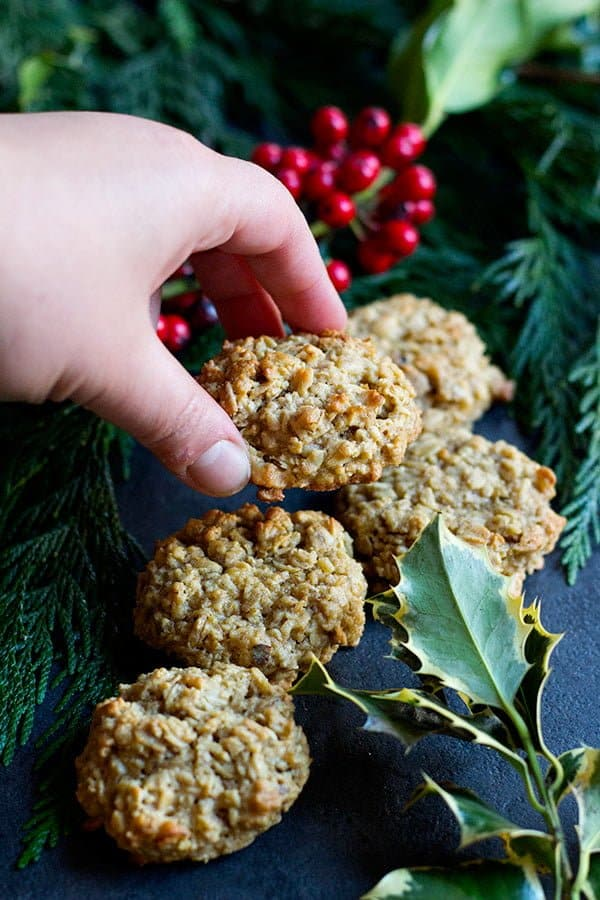 Walnut maple oatmeal cookies are great for the holidays.