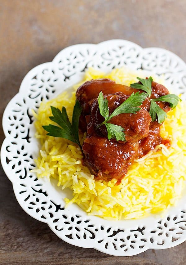 Comfort food, Persian style. Eggplant Sumac Meatballs with Saffron Rice is perfect for a simple dinner that doesn't require a lot of effort yet is full of flavor. The tanginess of sumac and the aroma of saffron make this dish very special.