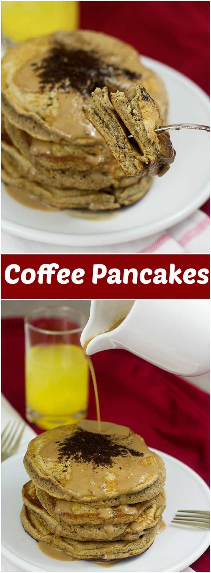 Start your morning right with these coffee pancakes filled with delicious coffee and served with a coffee and creamer syrup. Talk about a perfect morning!