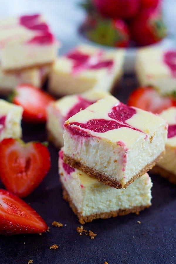 Strawberry Swirl Cheesecake Bars Unicorns In The Kitchen