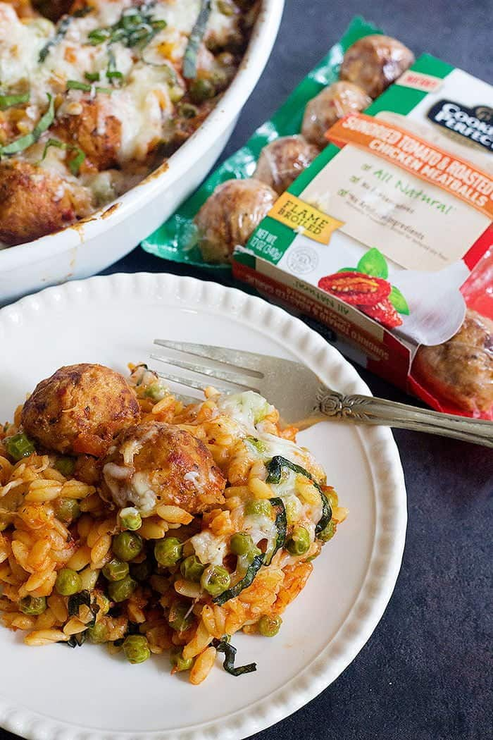 Meatball Orzo Casserole is a delicious option for your weeknight dinner. This casserole is made in one dish with all the ingredients you already have in your kitchen!
