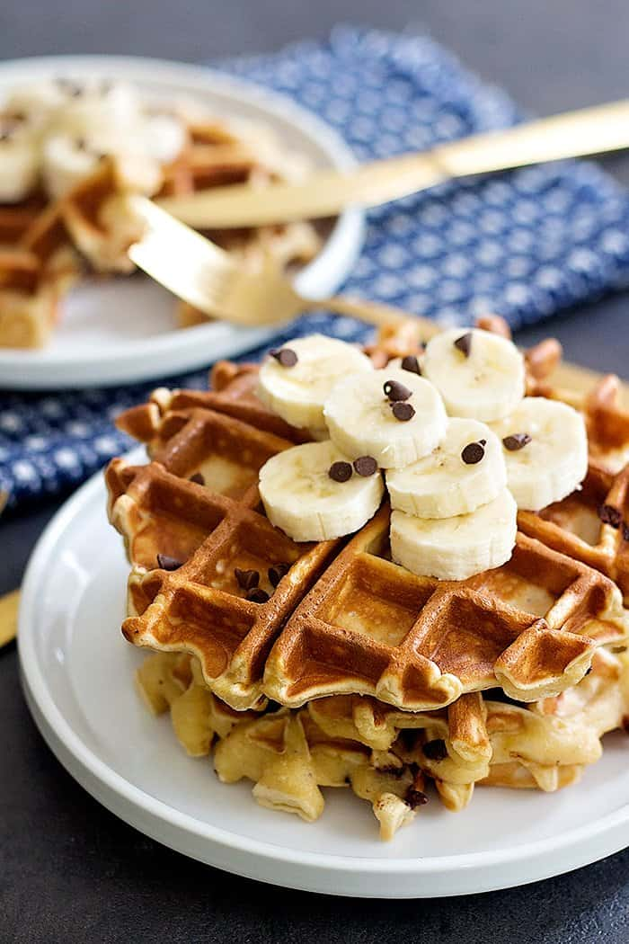 Peanut Butter Chocolate Chip Banana Waffles are great for breakfast or brunch. You can make the waffle batter in a blender in no time and enjoy!