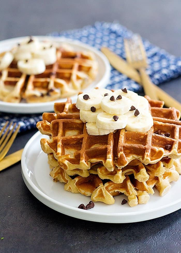 These peanut butter chocolate chip waffles are made with bananas and taste like banana bread.