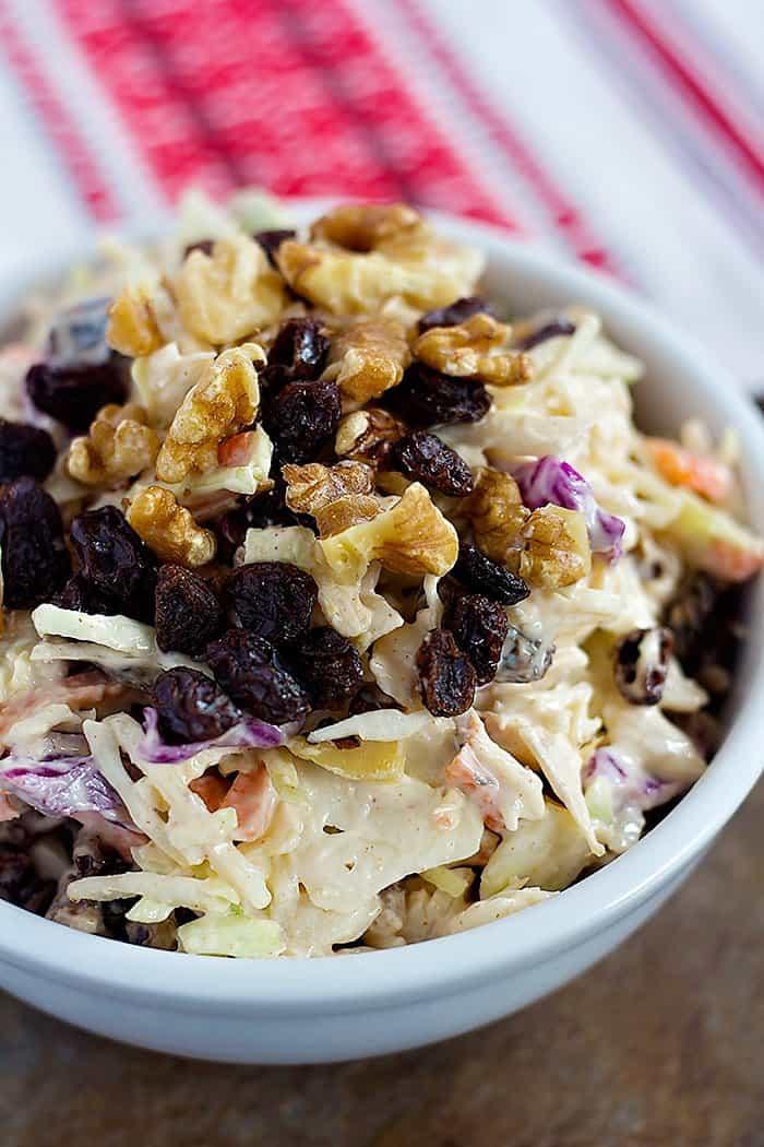 creamy coleslaw recipe with walnuts and raisins.