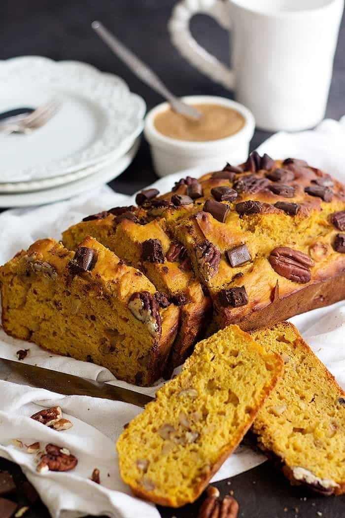 healthy pumpkin bread is delicious with some tea or coffee.