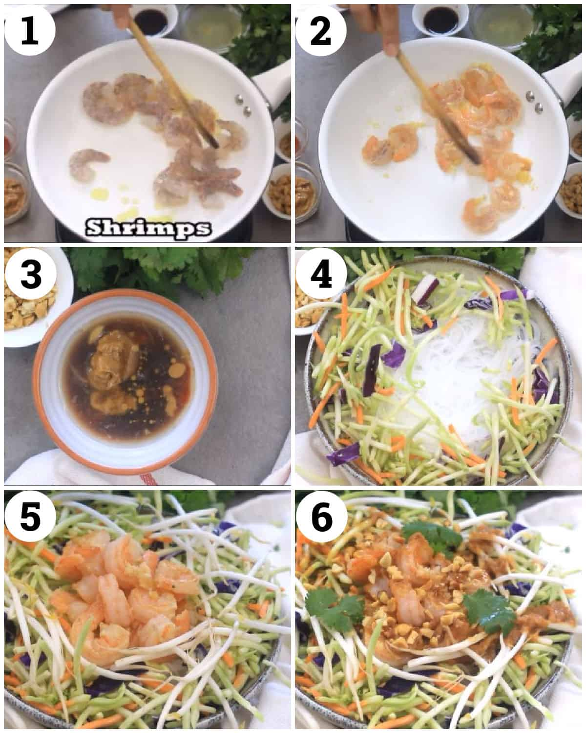 sear the shrimp, make the dressing and assemble the salad.