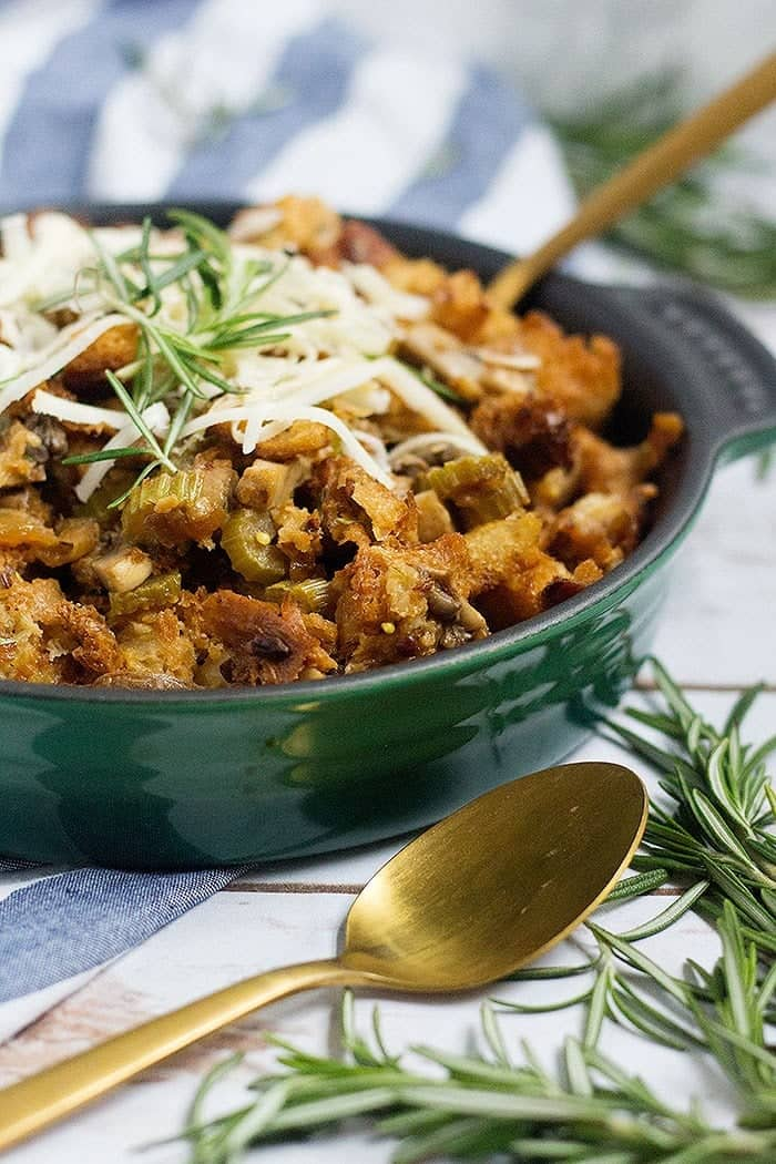 Mushroom stuffing is great for Thanksgiving as a nice side dish.
