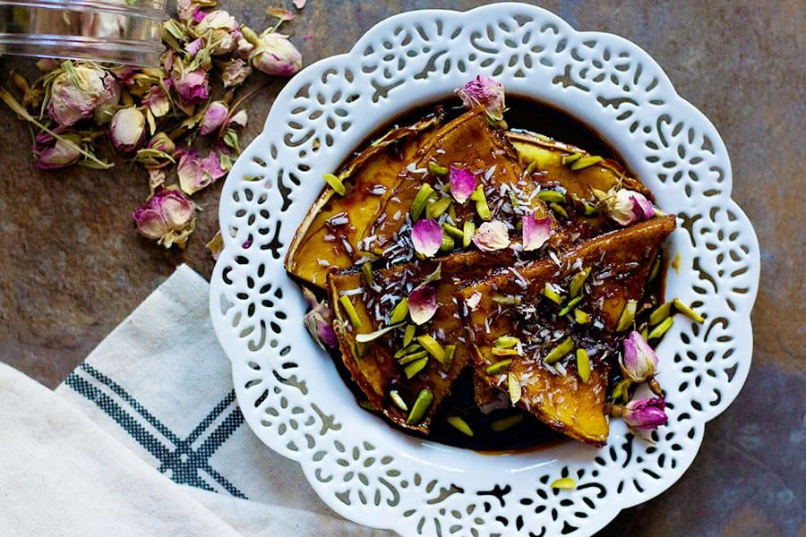 Persian Homemade Crepe Recipe with Molasses - from unicornsinthekitchen.com #Persianfood #Persian
