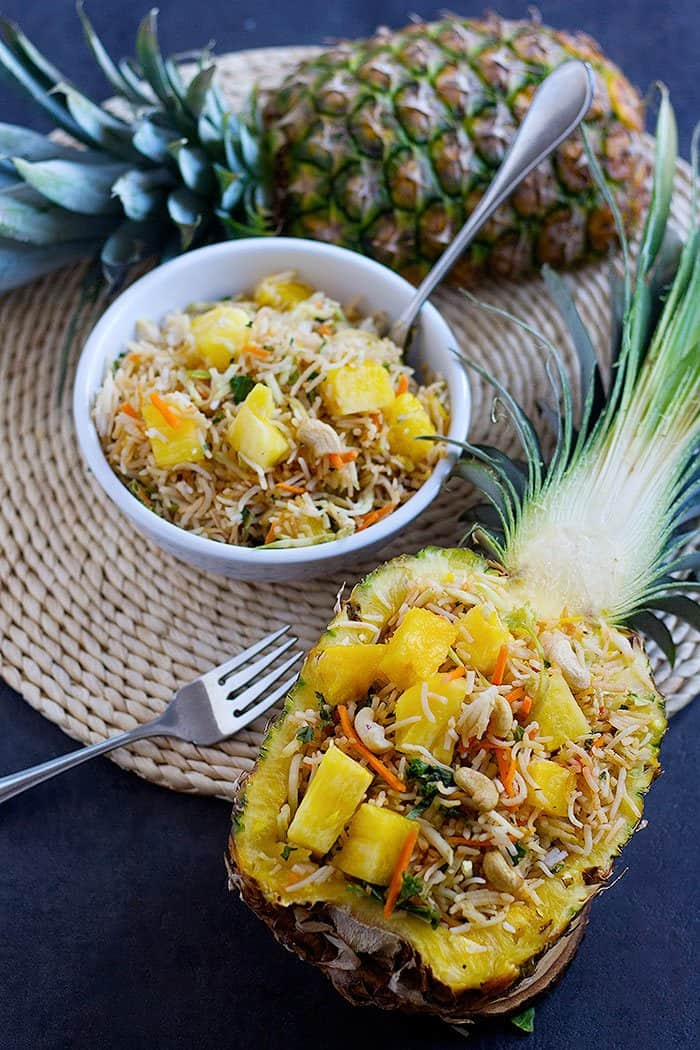 Quick Vegetarian Pineapple Fried Rice is an easy dish that can be ready in only 20 minutes! It's packed with vegetables and flavors, making it a perfect weeknight meal!