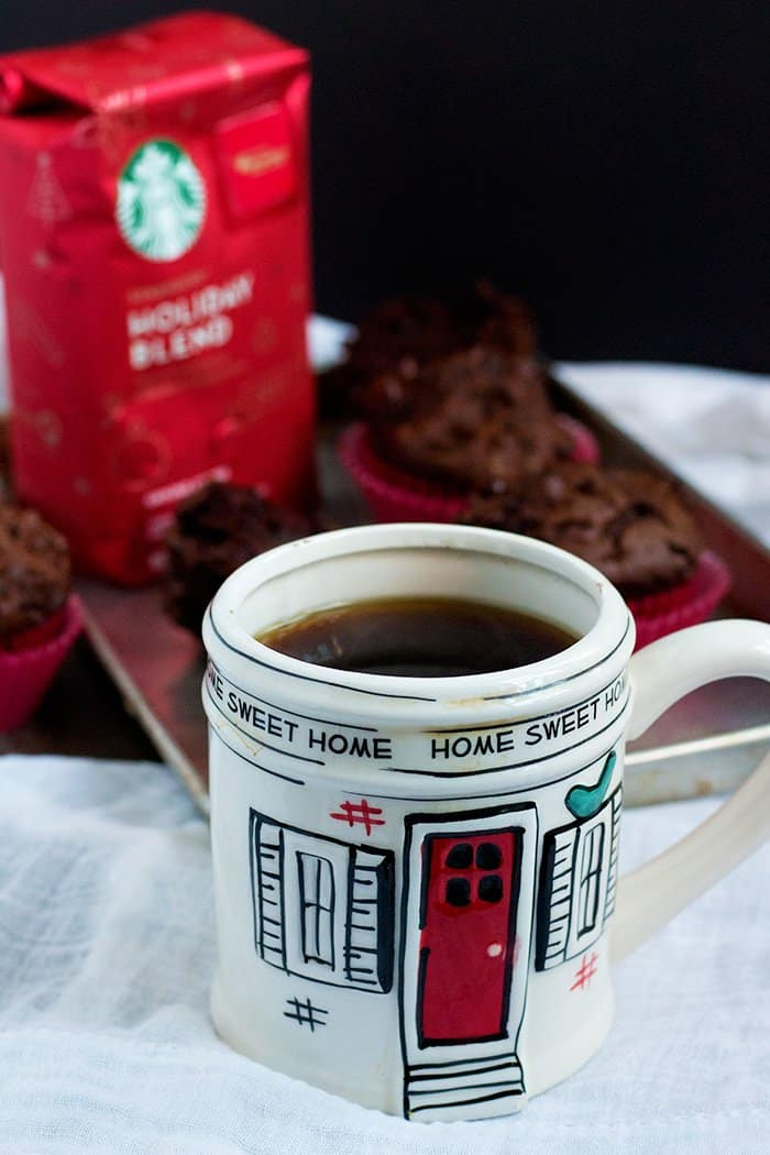 Mocha Muffins served with a cup of coffee