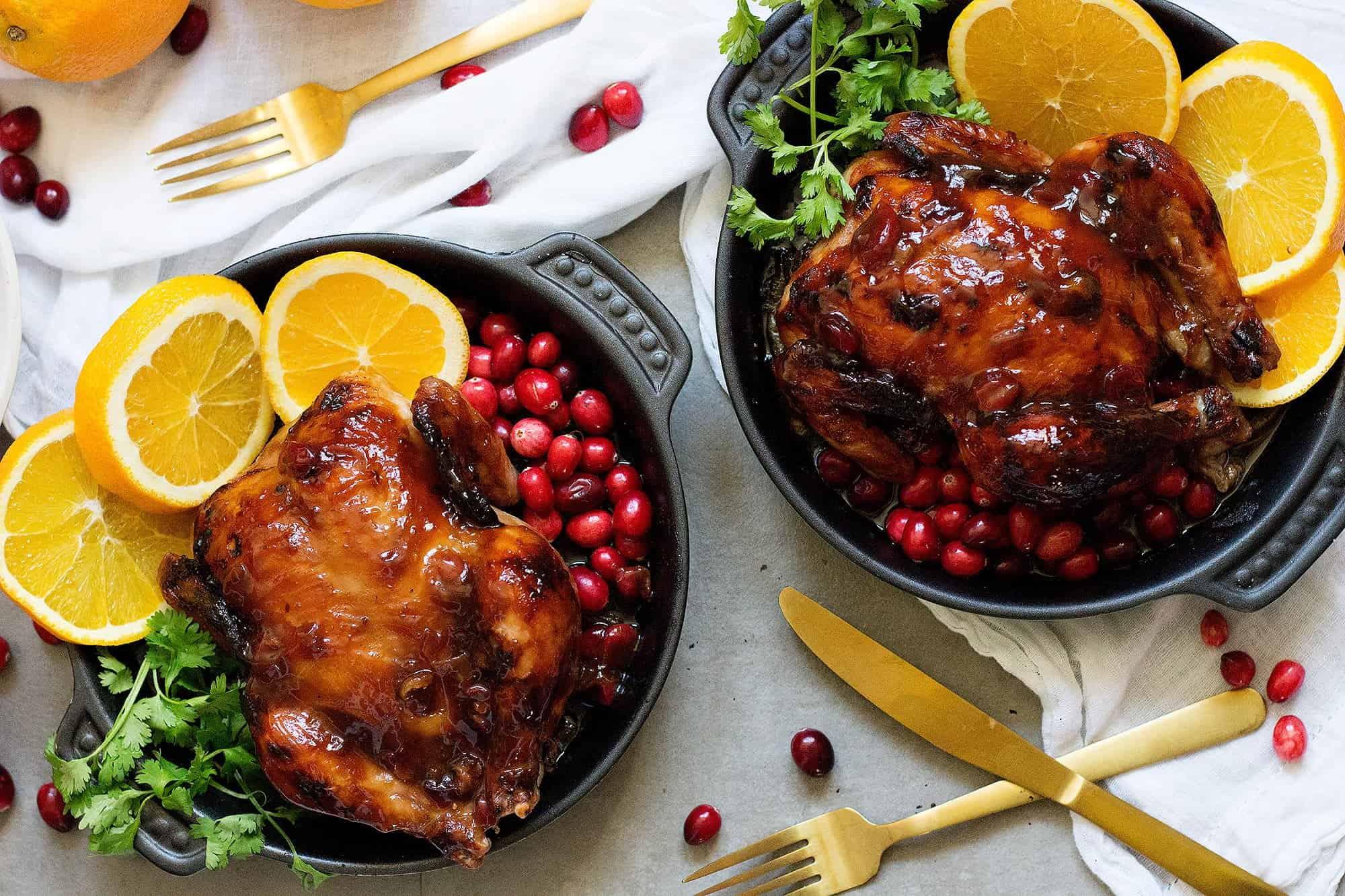 cornish chicken recipe is made with an orange cranberry glaze