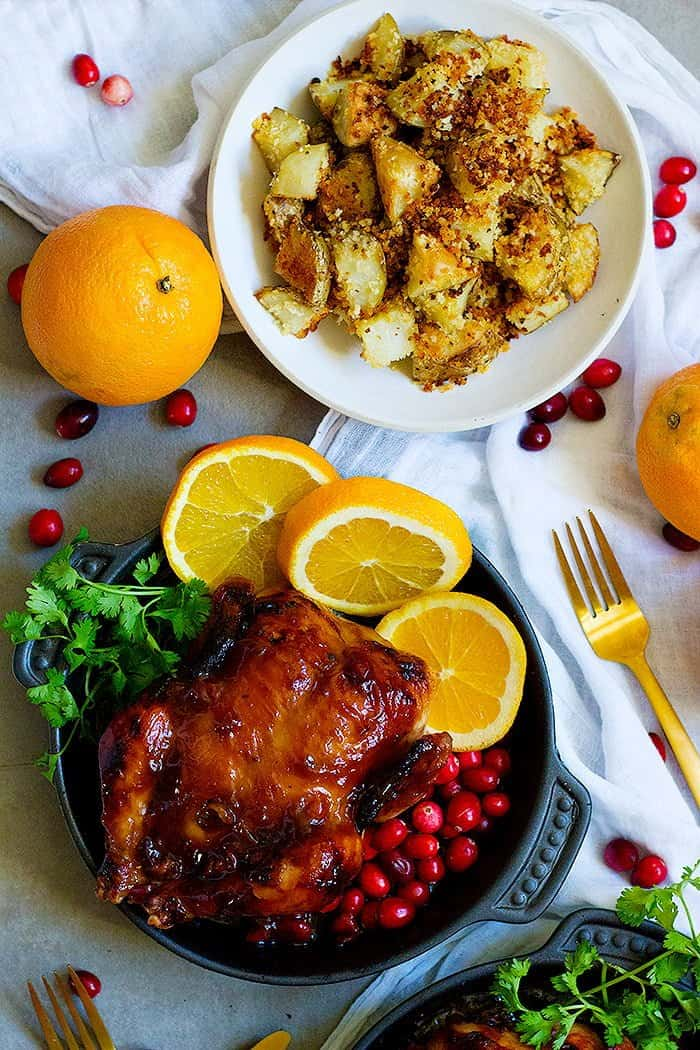 cranberry orange chicken with oven roasted potatoes