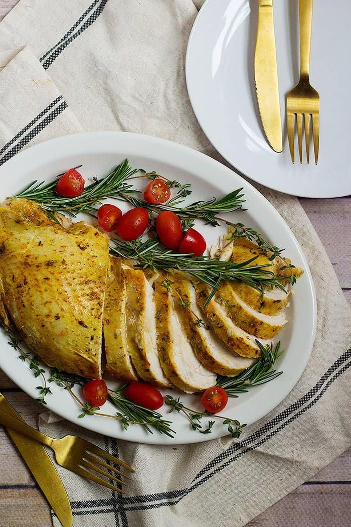 Slow cooker turkey breast with vegetables is perfect for Thanksgiving.