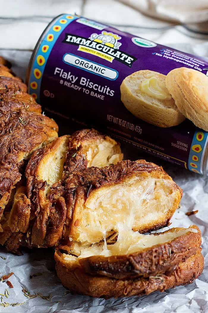 garlic cheese pull apart bread made with refrigerated biscuit dough.