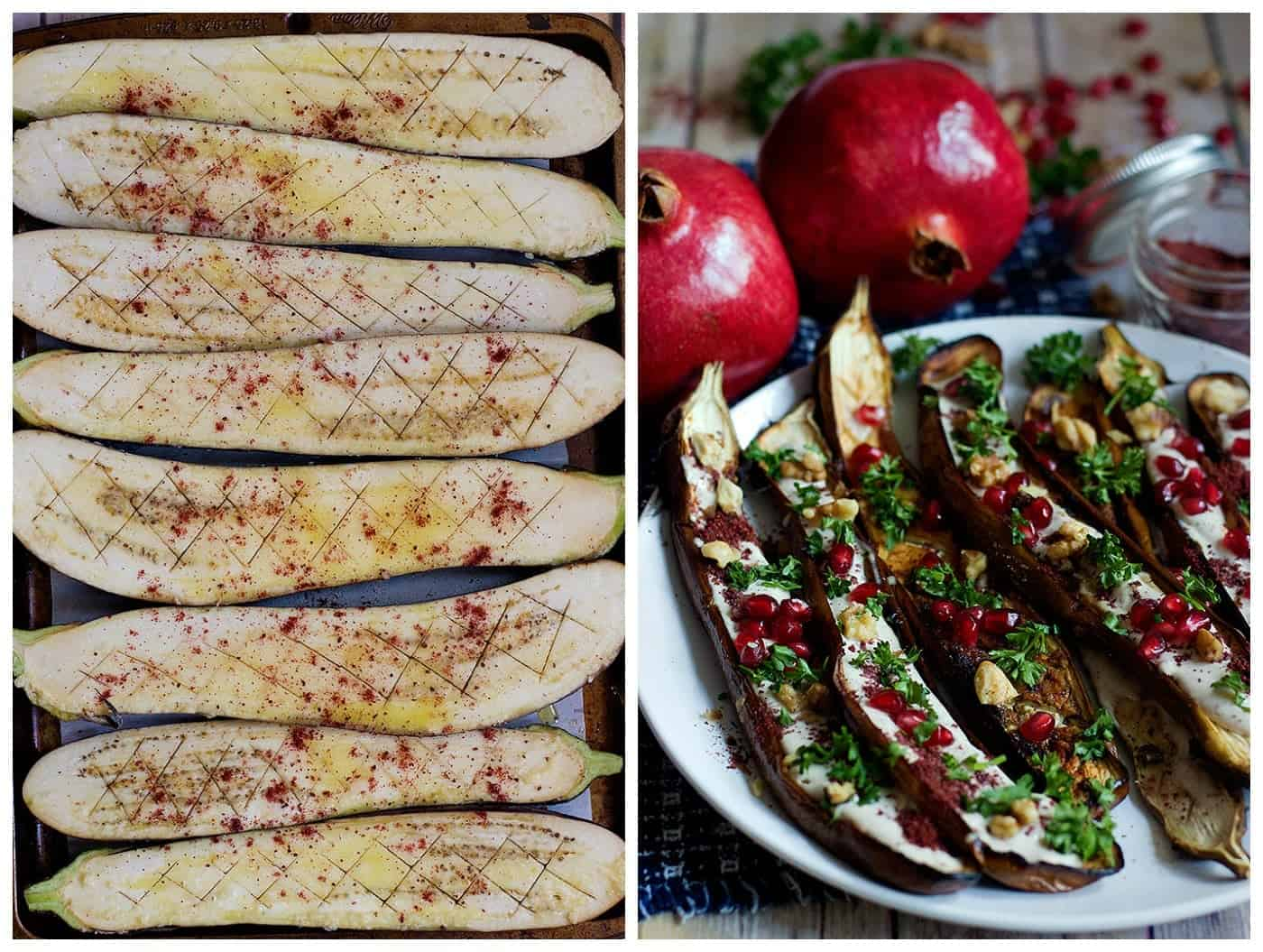 Eggplants cut into halves lengthwise and drizzled with olive oil. Top with sumac and roast.