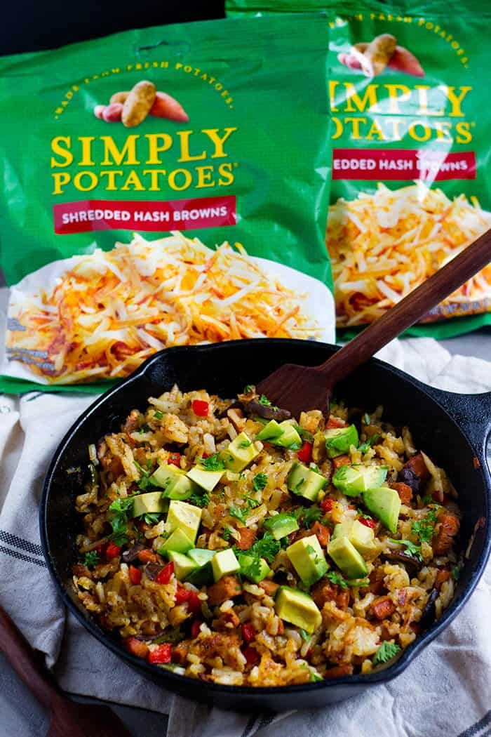 Skillet Hash Browns made with shredded hash browns.
