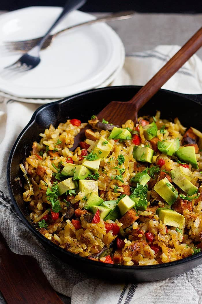 Skillet Hash Browns with sausage, peppers and avocados.