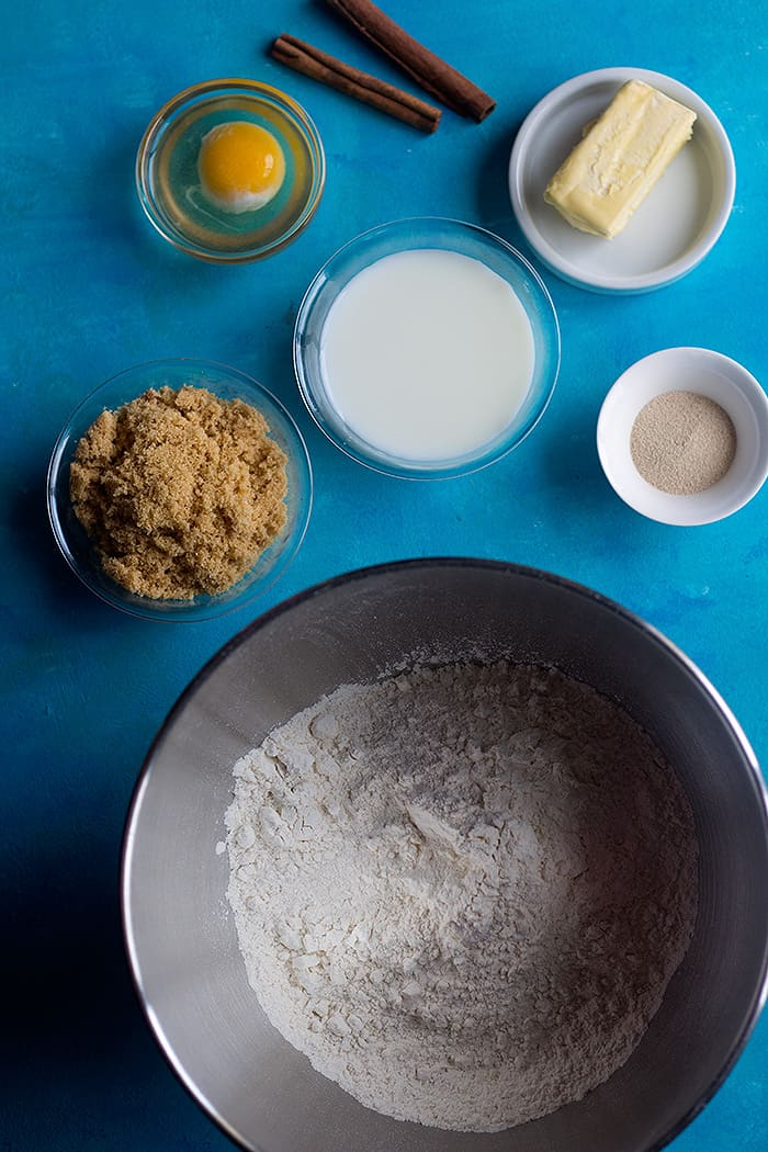 For the monkey bread you need all purpose flour, yeast, sugar, butter, milk and an egg.