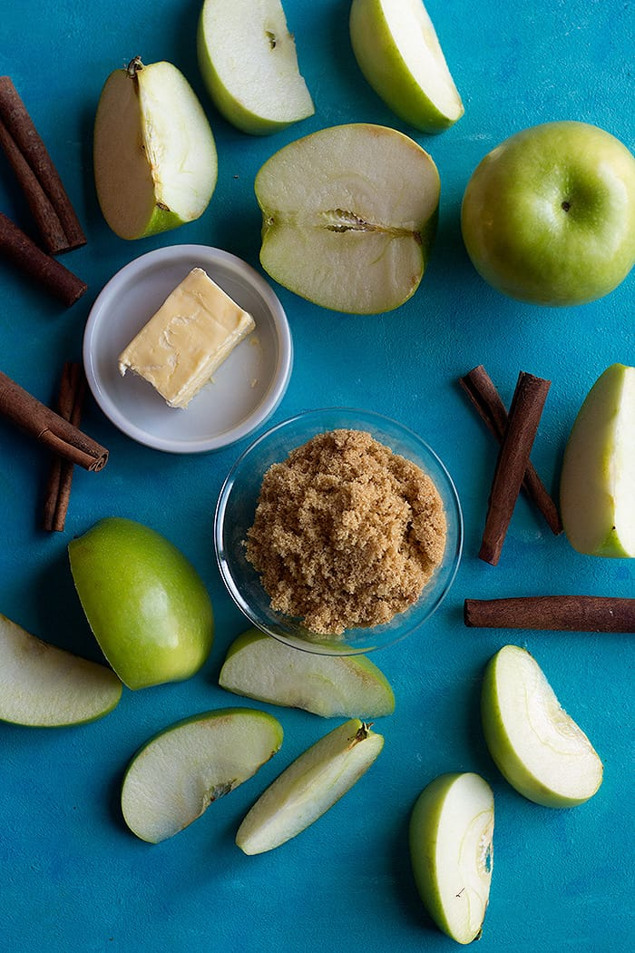 And to make the apple pie filling we use apples, butter, cinnamon and brown sugar.