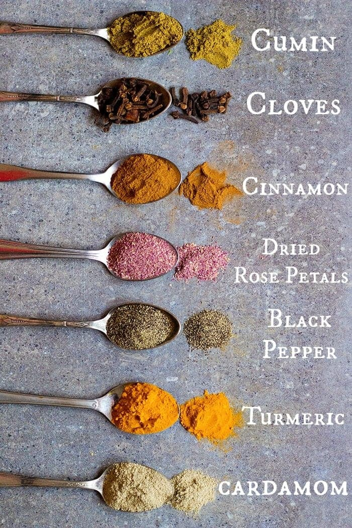 Advieh is made of seven spices including cumin, cloves, cinnamon, rose petals, black pepper, turmeric and cardamom.