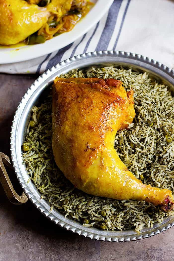 You can serve Dill rice and peas with Persian saffron chicken.