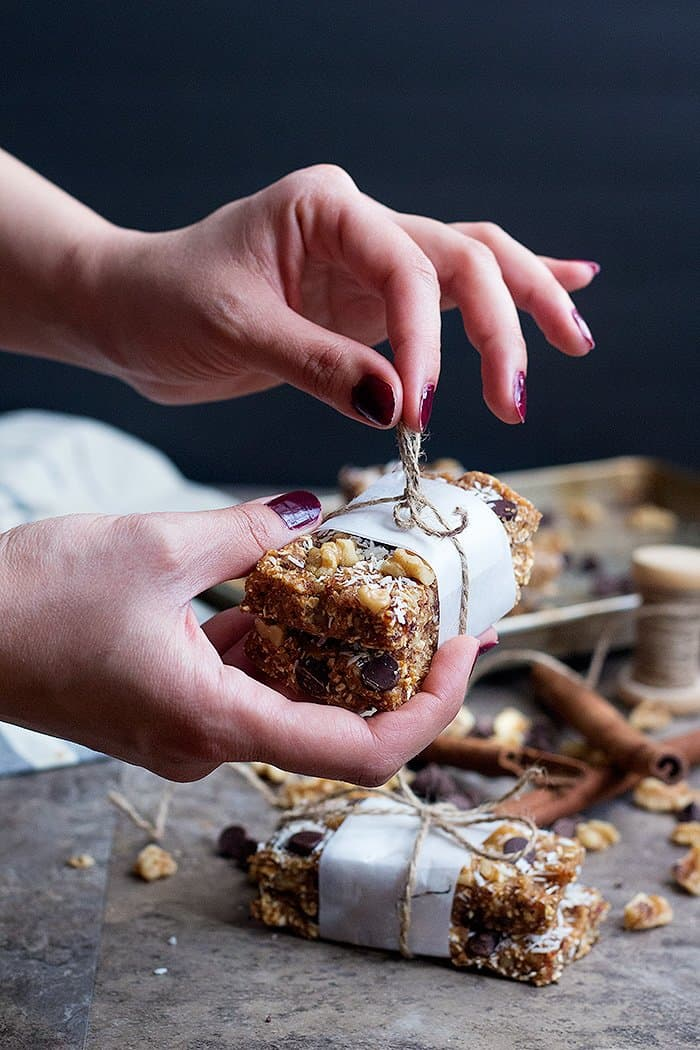 Wrap homemade granola bars in a parchment paper and tie with a string.