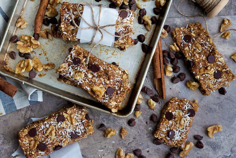 Homemade granola bars recipe tastes great with walnuts and chocolate chips.